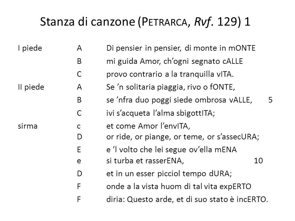 Stanza di canzone (P ETRARCA, Rvf.129) 2 I pi.