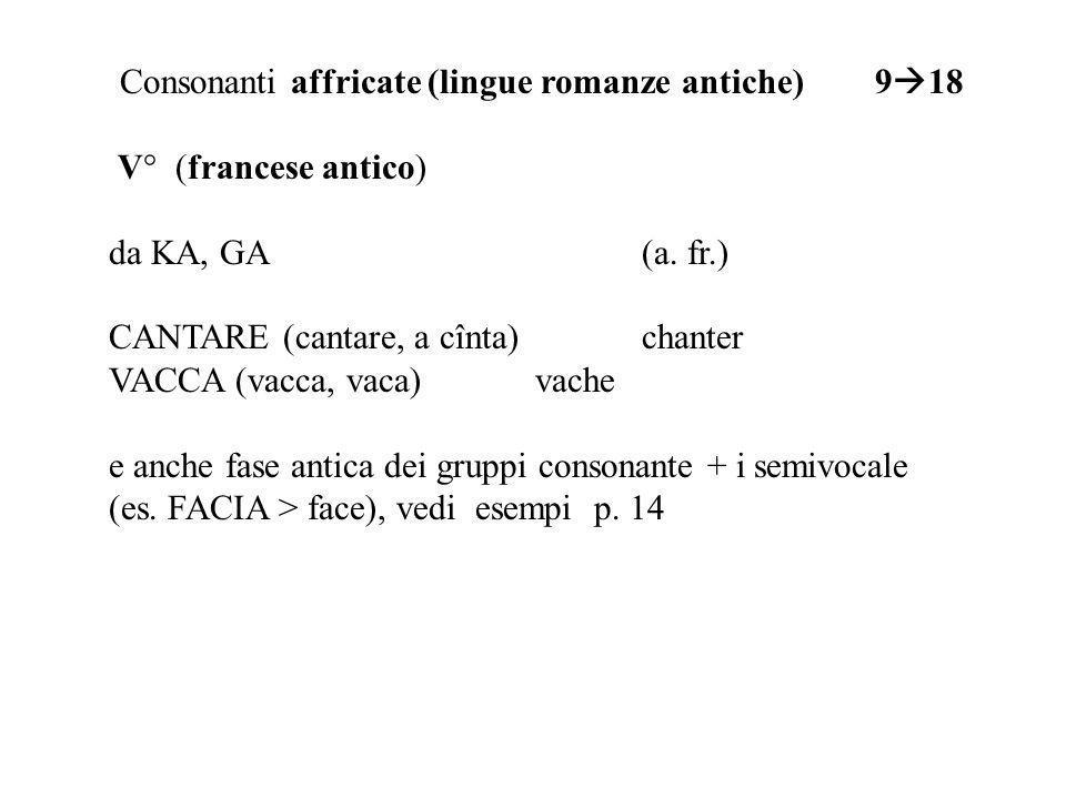Consonanti affricate (lingue romanze antiche) 9 18 V° (francese antico) da KA, GA (a. fr.) CANTARE (cantare, a c î nta)chanter VACCA (vacca, vaca)vach