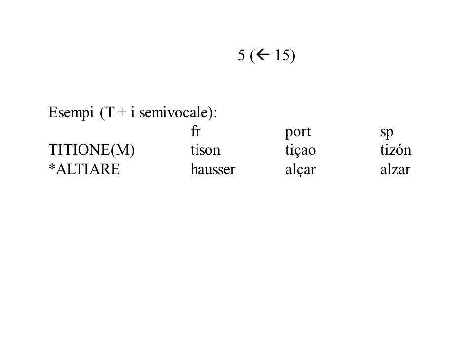 5 ( 15) Esempi (T + i semivocale): frportsp TITIONE(M)tisontiçaotizón *ALTIAREhausseralçaralzar