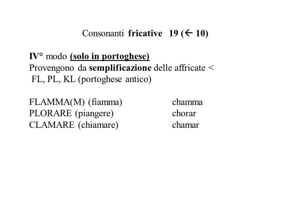 Consonanti fricative 19 ( 10) IV° modo (solo in portoghese) Provengono da semplificazione delle affricate < FL, PL, KL (portoghese antico) FLAMMA(M) (fiamma)chamma PLORARE (piangere)chorar CLAMARE (chiamare)chamar