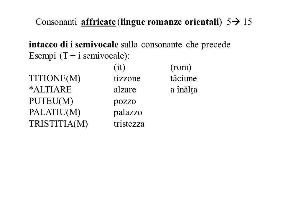 Consonanti affricate (lingue romanze orientali) 5 15 intacco di i semivocale sulla consonante che precede Esempi (T + i semivocale): (it)(rom) TITIONE(M)tizzone tă ciune *ALTIAREalzarea în ă l ţ a PUTEU(M)pozzo PALATIU(M)palazzo TRISTITIA(M)tristezza