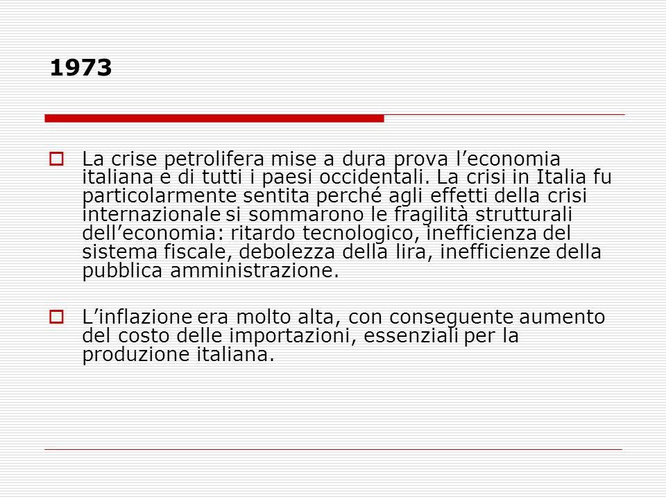 1973 La crise petrolifera mise a dura prova leconomia italiana e di tutti i paesi occidentali. La crisi in Italia fu particolarmente sentita perché ag