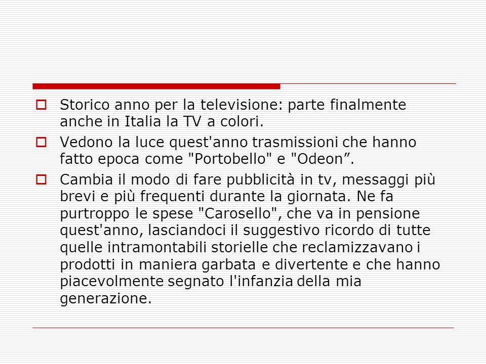 Storico anno per la televisione: parte finalmente anche in Italia la TV a colori. Vedono la luce quest'anno trasmissioni che hanno fatto epoca come