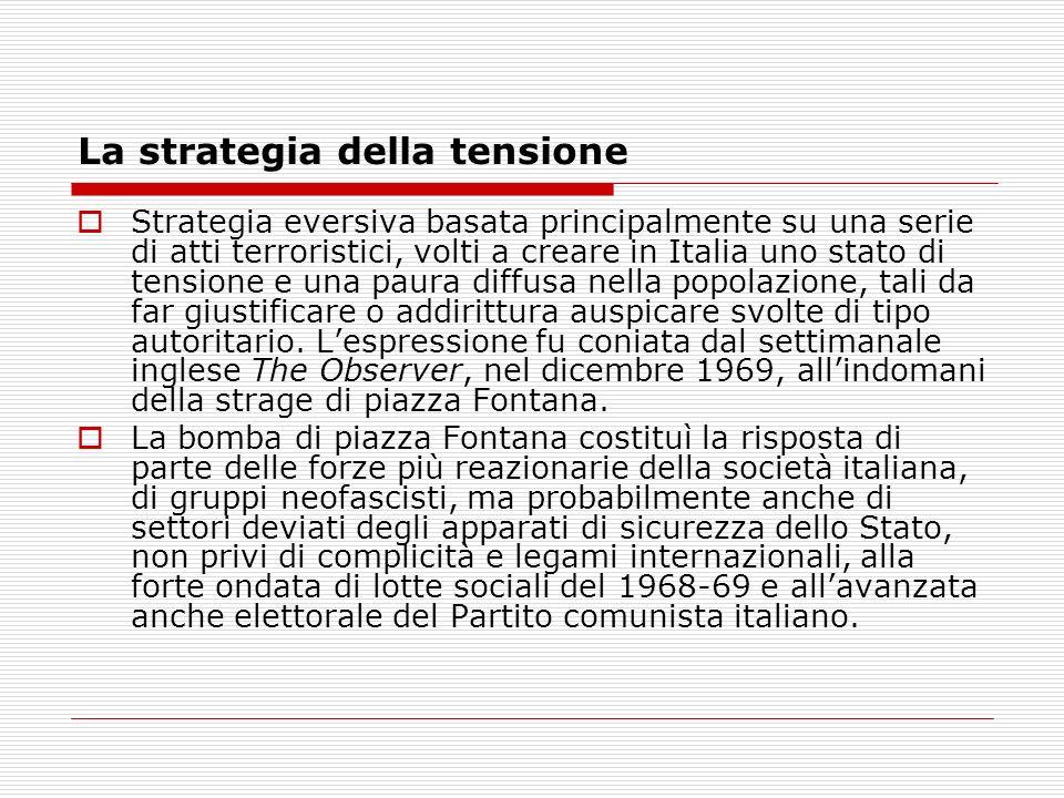 La strategia della tensione Strategia eversiva basata principalmente su una serie di atti terroristici, volti a creare in Italia uno stato di tensione