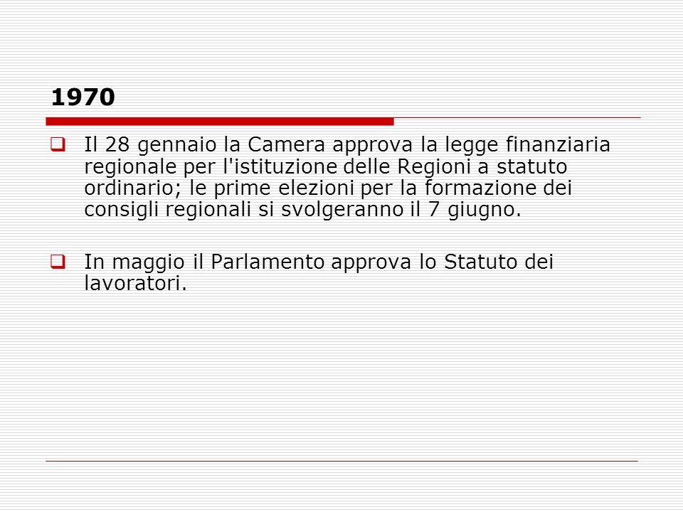 1970 Il 28 gennaio la Camera approva la legge finanziaria regionale per l'istituzione delle Regioni a statuto ordinario; le prime elezioni per la form