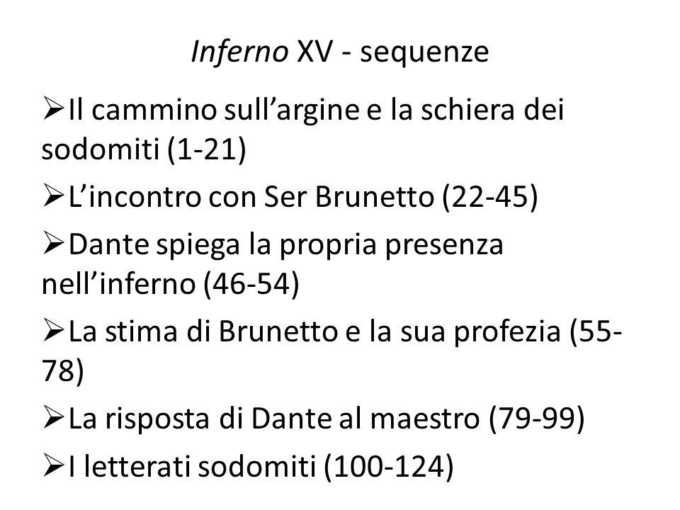 Inferno XV - sequenze Il cammino sullargine e la schiera dei sodomiti (1-21) Lincontro con Ser Brunetto (22-45) Dante spiega la propria presenza nelli