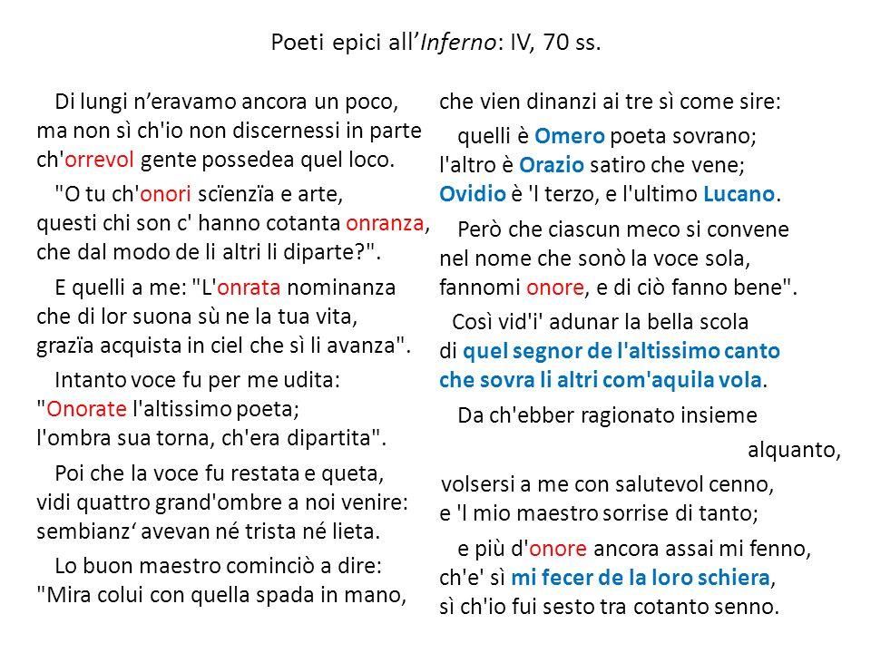 Poeti epici allInferno: IV, 70 ss. Di lungi neravamo ancora un poco, ma non sì ch'io non discernessi in parte ch'orrevol gente possedea quel loco.