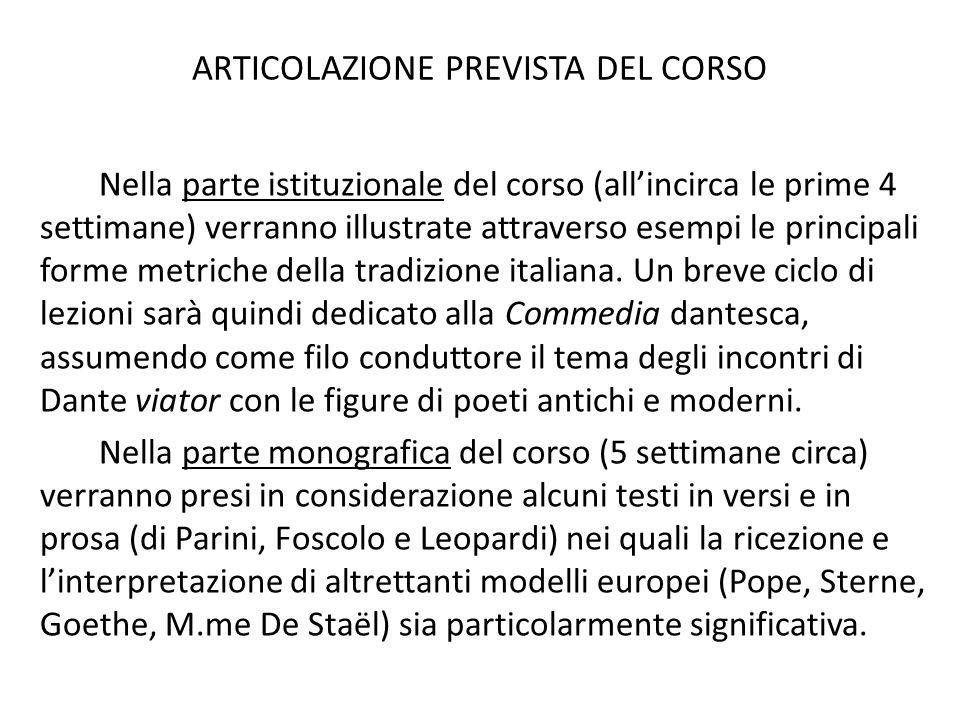 altre possibilità di seguire il corso di letteratura italiana per LIN Nel I semestre tiene un corso parallelo di Letteratura Italiana, equivalente per CFU e livello, la prof.