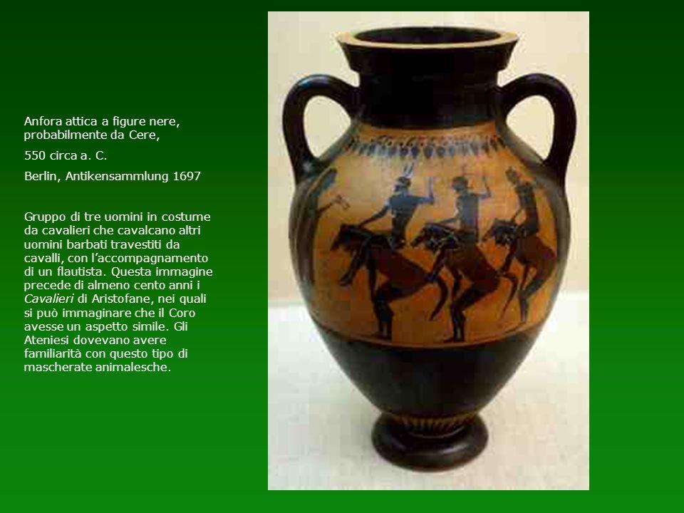 Anfora attica a figure nere, probabilmente da Cere, 550 circa a. C. Berlin, Antikensammlung 1697 Gruppo di tre uomini in costume da cavalieri che cava