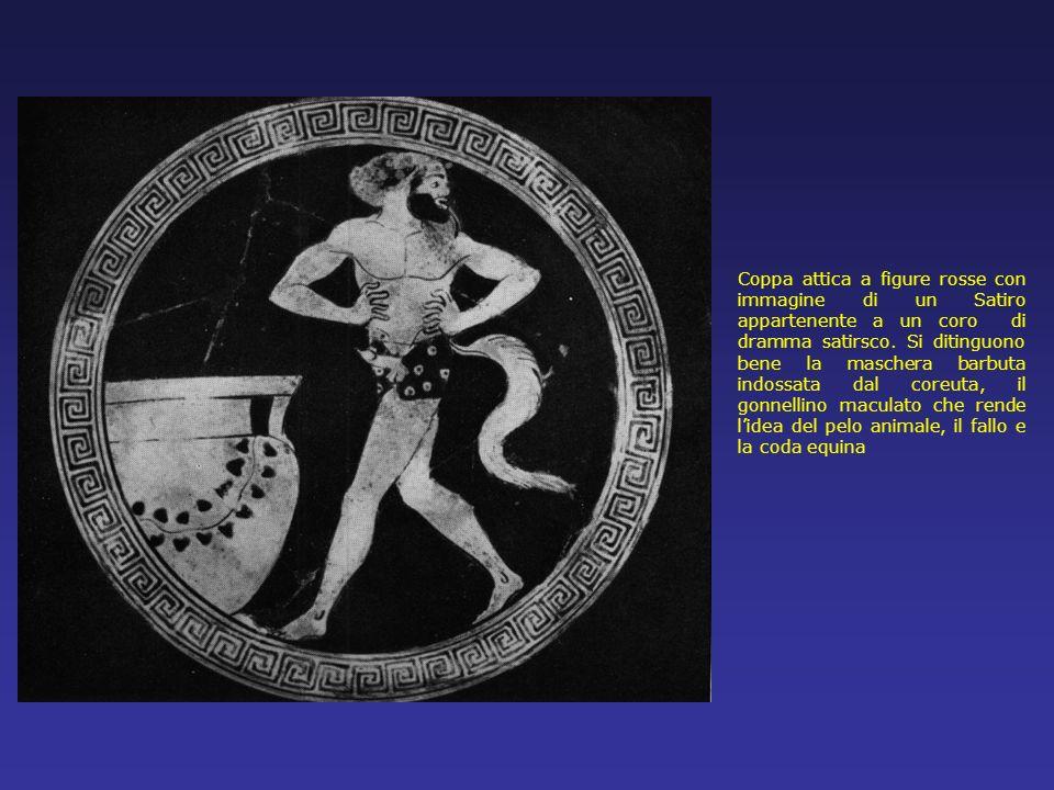 Coppa attica a figure rosse con immagine di un Satiro appartenente a un coro di dramma satirsco. Si ditinguono bene la maschera barbuta indossata dal