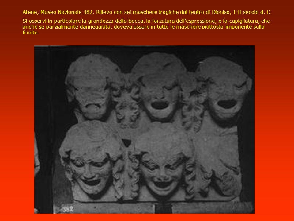Atene, Museo Nazionale 382. Rilievo con sei maschere tragiche dal teatro di Dioniso, I-II secolo d. C. Si osservi in particolare la grandezza della bo