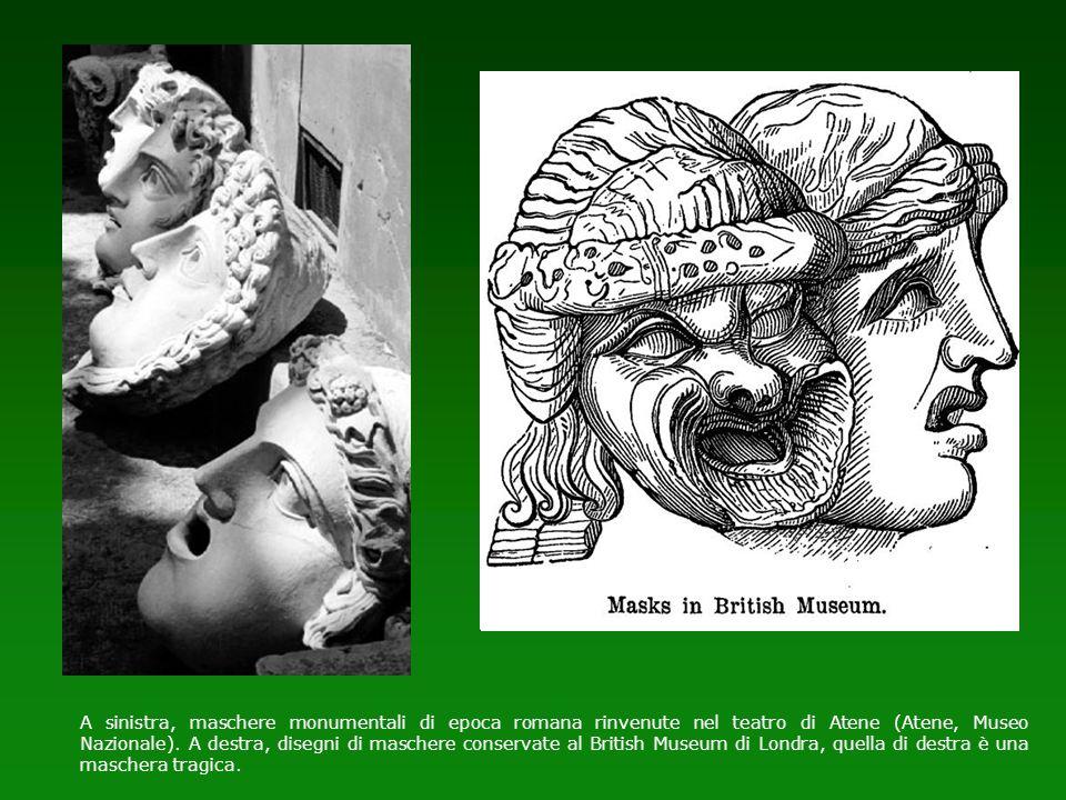 A sinistra, maschere monumentali di epoca romana rinvenute nel teatro di Atene (Atene, Museo Nazionale). A destra, disegni di maschere conservate al B