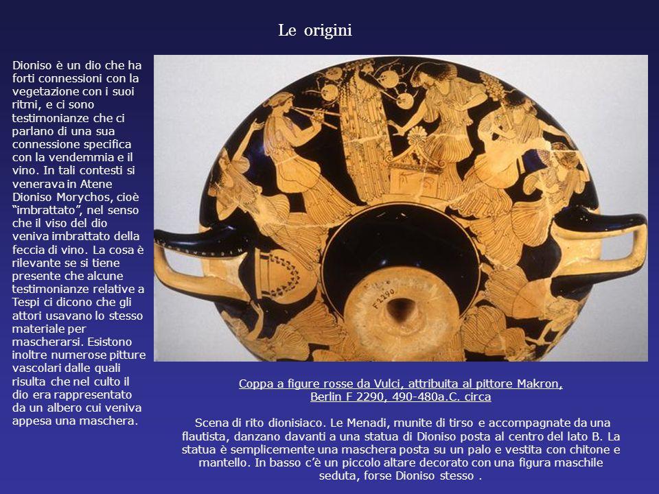 Coppa a figure rosse da Vulci, attribuita al pittore Makron, Berlin F 2290, 490-480a.C. circa Scena di rito dionisiaco. Le Menadi, munite di tirso e a
