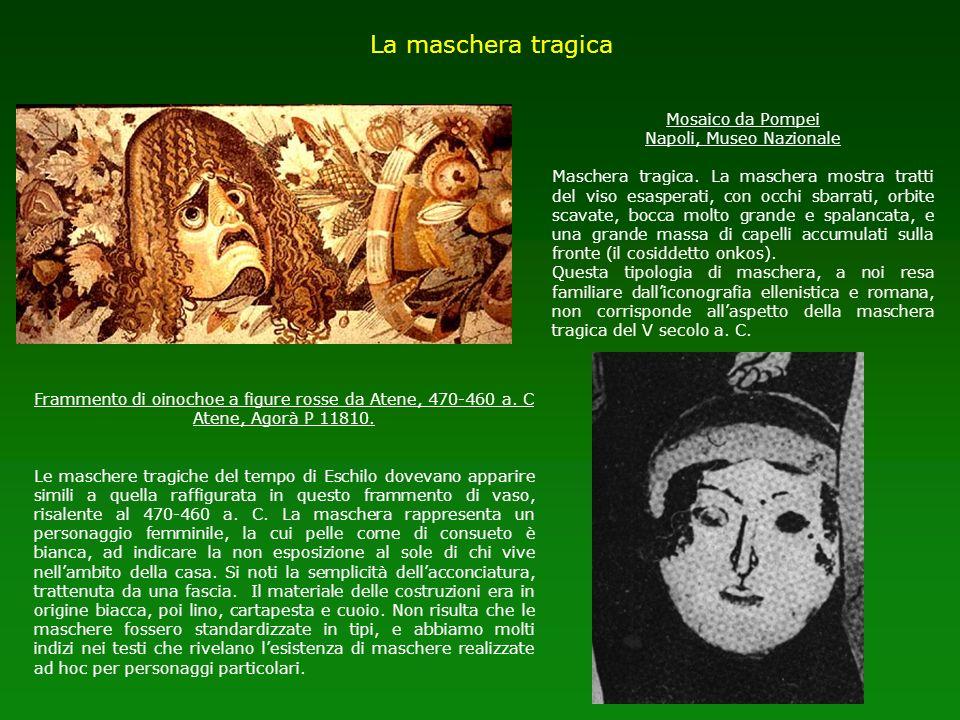 Mosaico da Pompei Napoli, Museo Nazionale Maschera tragica. La maschera mostra tratti del viso esasperati, con occhi sbarrati, orbite scavate, bocca m