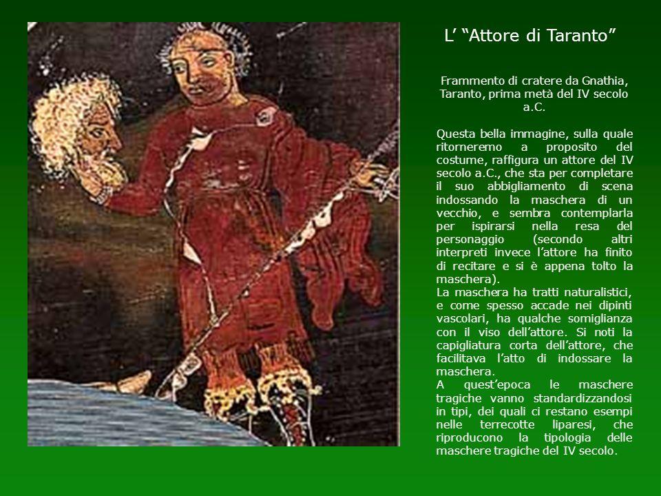 Frammento di cratere da Gnathia, Taranto, prima metà del IV secolo a.C. Questa bella immagine, sulla quale ritorneremo a proposito del costume, raffig