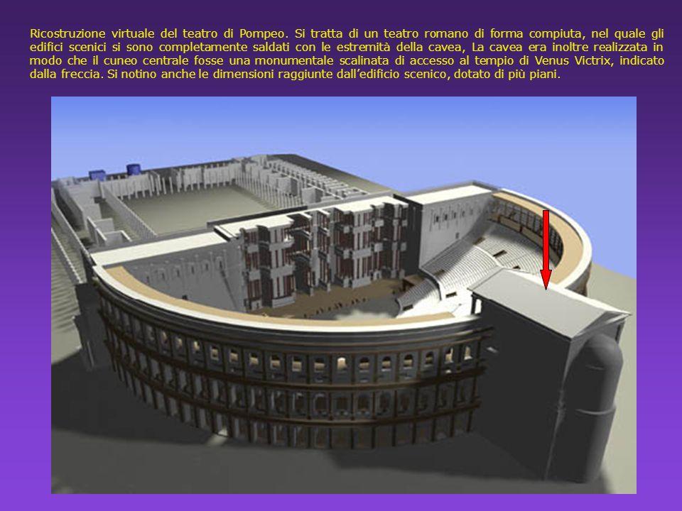 Ricostruzione virtuale del teatro di Pompeo. Si tratta di un teatro romano di forma compiuta, nel quale gli edifici scenici si sono completamente sald