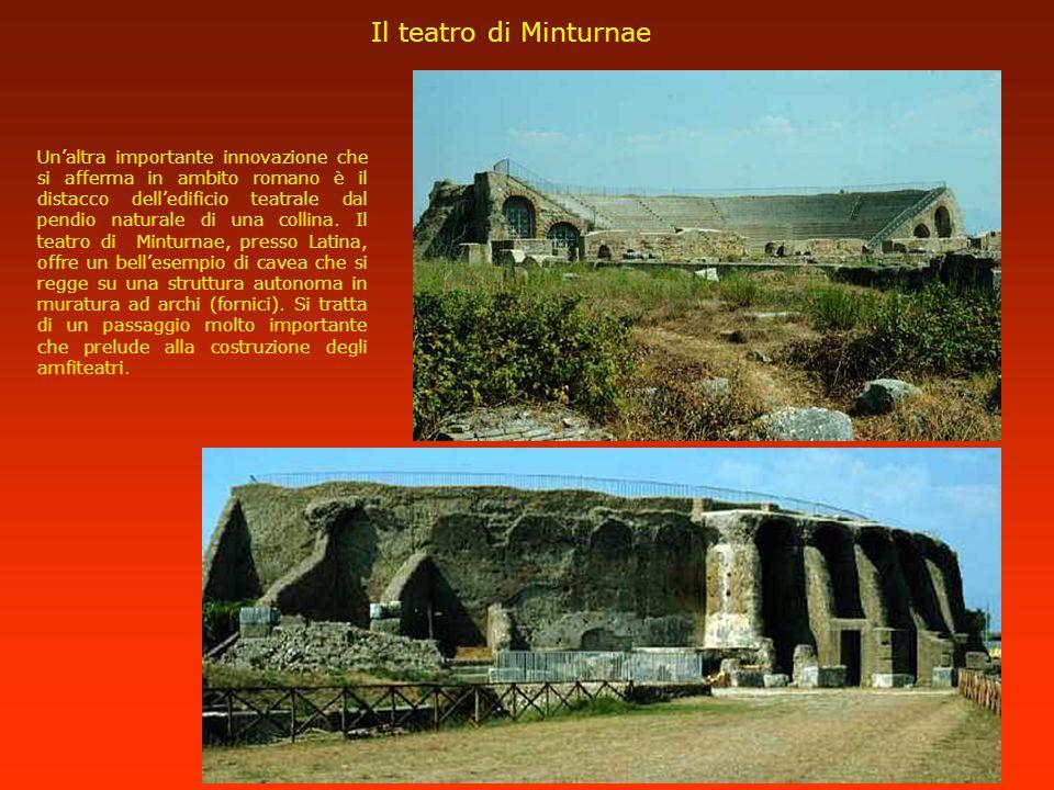 Il teatro di Minturnae Unaltra importante innovazione che si afferma in ambito romano è il distacco delledificio teatrale dal pendio naturale di una c