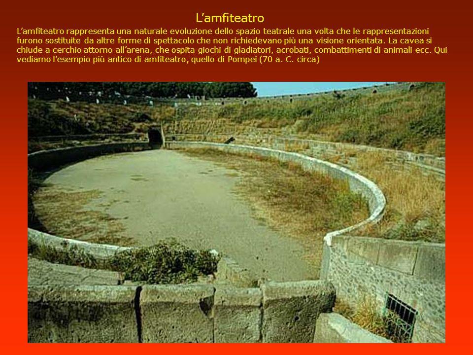 Lamfiteatro Lamfiteatro rappresenta una naturale evoluzione dello spazio teatrale una volta che le rappresentazioni furono sostituite da altre forme d