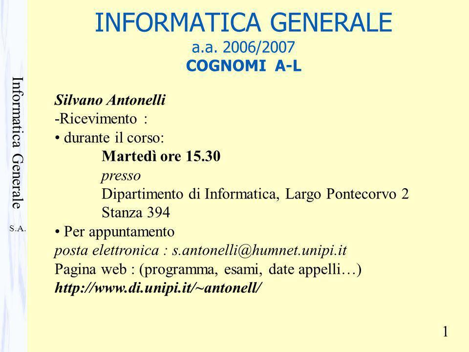 S.A. Informatica Generale 1 INFORMATICA GENERALE a.a. 2006/2007 COGNOMI A-L Silvano Antonelli -Ricevimento : durante il corso: Martedì ore 15.30 press