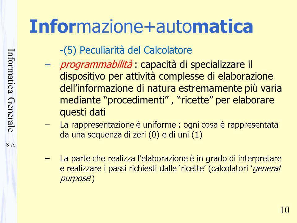 S.A. Informatica Generale 10 Informazione+automatica -(5) Peculiarità del Calcolatore –programmabilità : capacità di specializzare il dispositivo per
