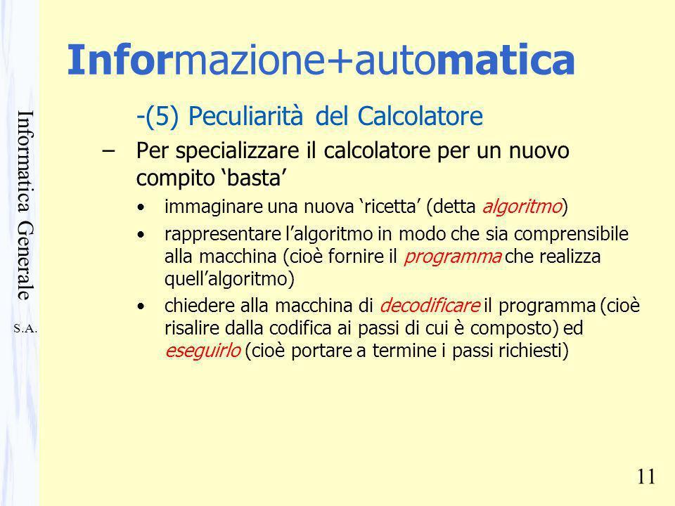 S.A. Informatica Generale 11 Informazione+automatica -(5) Peculiarità del Calcolatore –Per specializzare il calcolatore per un nuovo compito basta imm