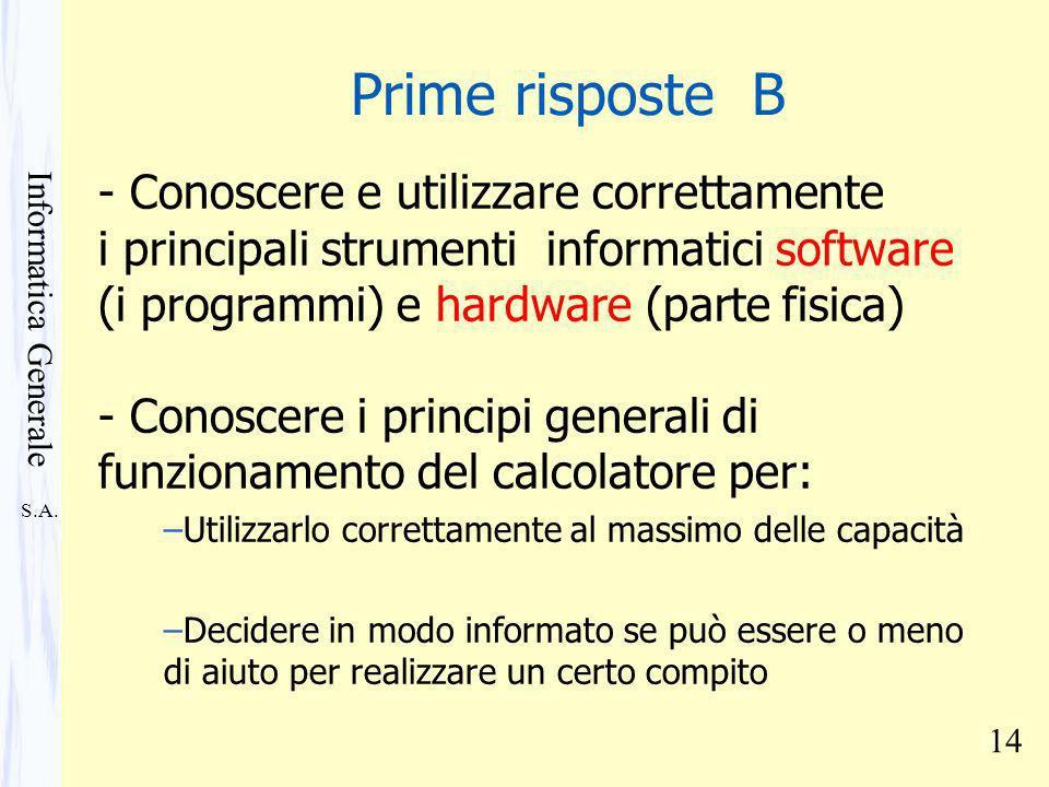 S.A. Informatica Generale 14 - Conoscere e utilizzare correttamente i principali strumenti informatici software (i programmi) e hardware (parte fisica