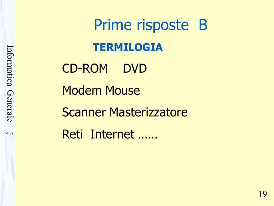 S.A. Informatica Generale 19 TERMILOGIA CD-ROM DVD Modem Mouse Scanner Masterizzatore Reti Internet …… Prime risposte B