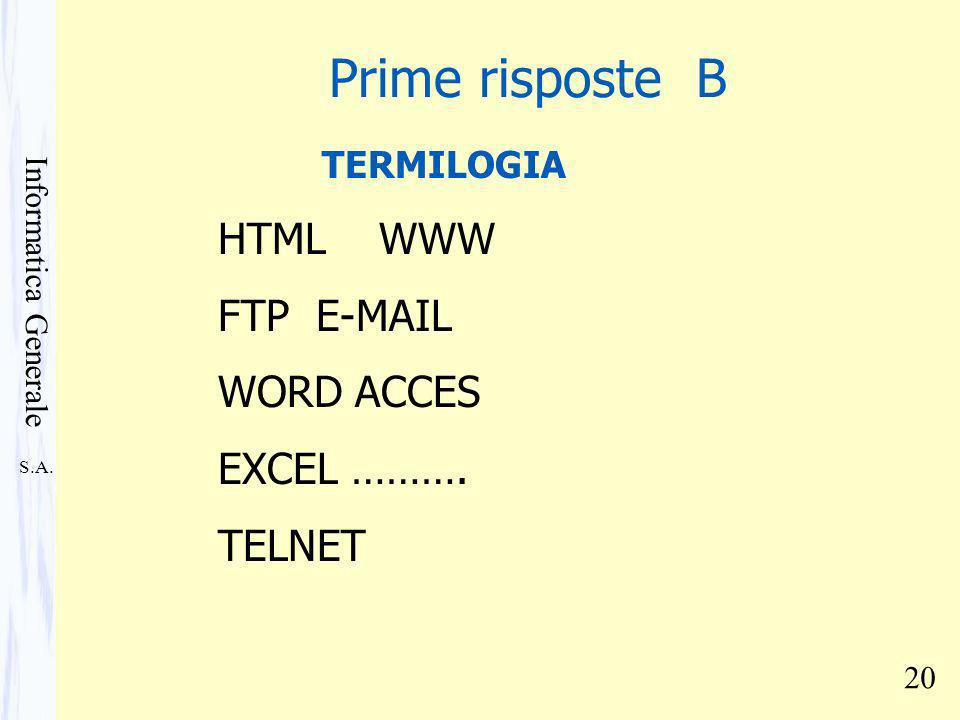 S.A. Informatica Generale 20 TERMILOGIA HTML WWW FTP E-MAIL WORD ACCES EXCEL ……….