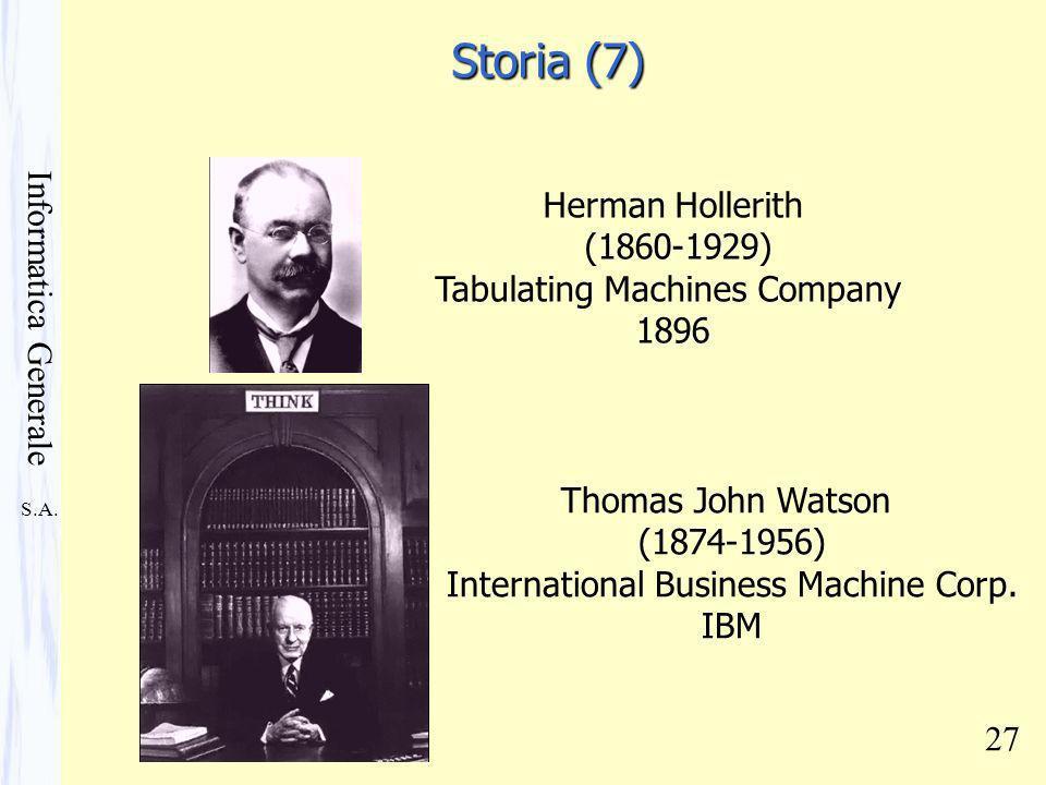 S.A. Informatica Generale 27 Herman Hollerith (1860-1929) Tabulating Machines Company 1896 Thomas John Watson (1874-1956) International Business Machi