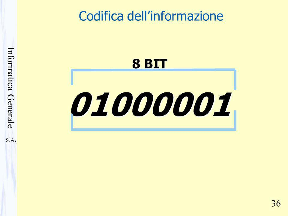 S.A. Informatica Generale 36 01000001 8 BIT Codifica dellinformazione