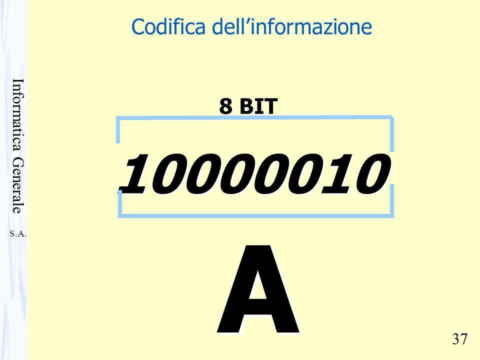 S.A. Informatica Generale 37 A 10000010 8 BIT Codifica dellinformazione
