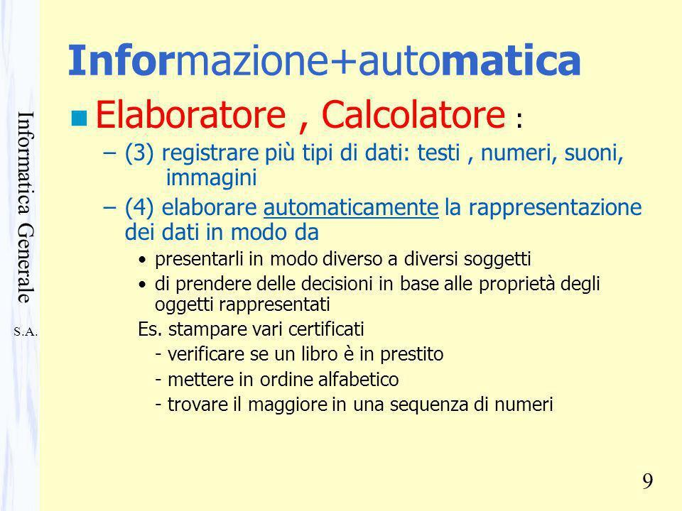 S.A. Informatica Generale 9 Informazione+automatica n Elaboratore, Calcolatore : –(3) registrare più tipi di dati: testi, numeri, suoni, immagini –(4)