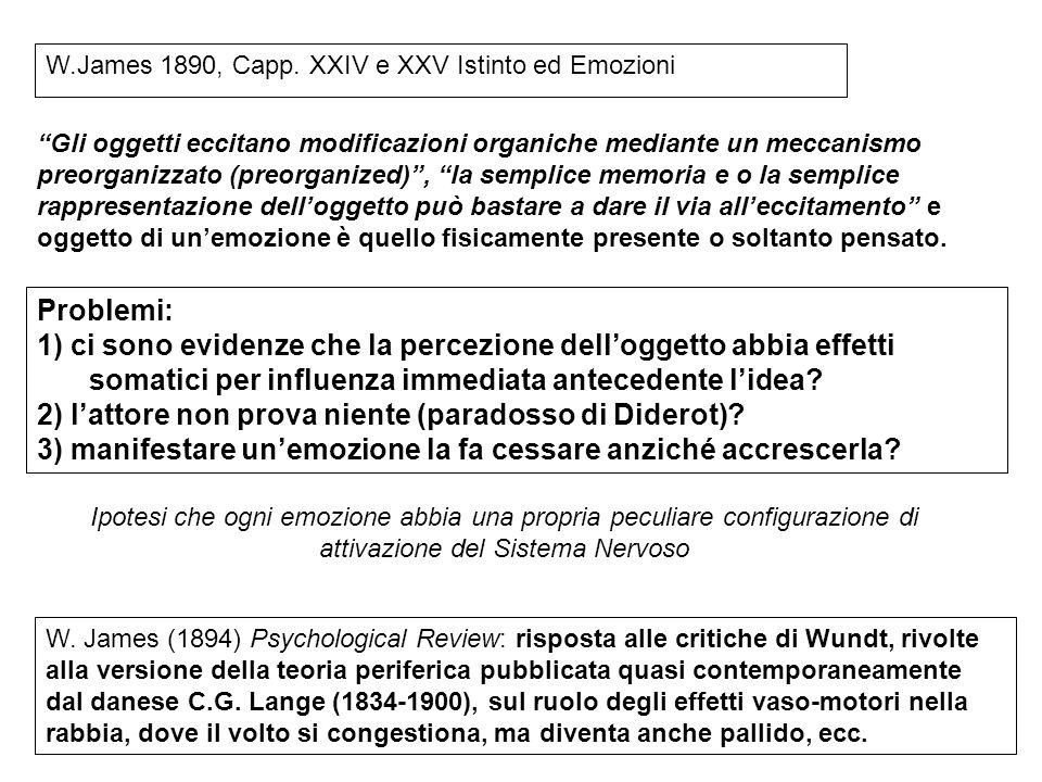 W.James 1890, Capp. XXIV e XXV Istinto ed Emozioni Gli oggetti eccitano modificazioni organiche mediante un meccanismo preorganizzato (preorganized),
