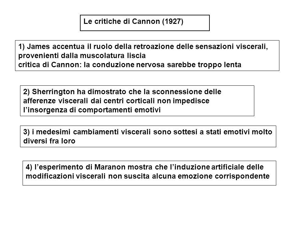 1) James accentua il ruolo della retroazione delle sensazioni viscerali, provenienti dalla muscolatura liscia critica di Cannon: la conduzione nervosa