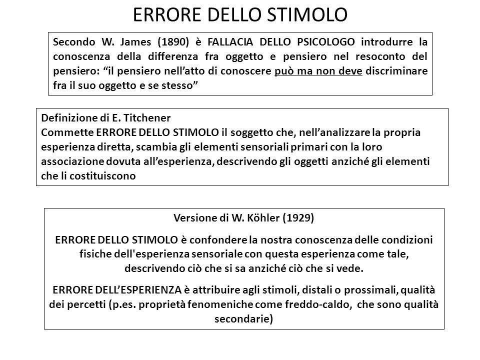 ERRORE DELLO STIMOLO Definizione di E. Titchener Commette ERRORE DELLO STIMOLO il soggetto che, nellanalizzare la propria esperienza diretta, scambia