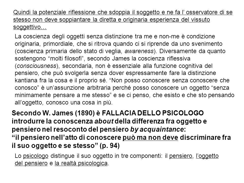 Secondo W. James (1890) è FALLACIA DELLO PSICOLOGO introdurre la conoscenza about della differenza fra oggetto e pensiero nel resoconto del pensiero b
