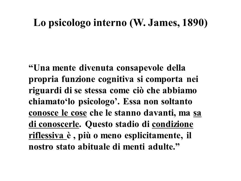 Lo psicologo interno (W. James, 1890) Una mente divenuta consapevole della propria funzione cognitiva si comporta nei riguardi di se stessa come ciò c