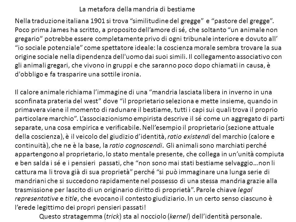 Nella traduzione italiana 1901 si trova similitudine del gregge e pastore del gregge. Poco prima James ha scritto, a proposito dellamore di sé, che so
