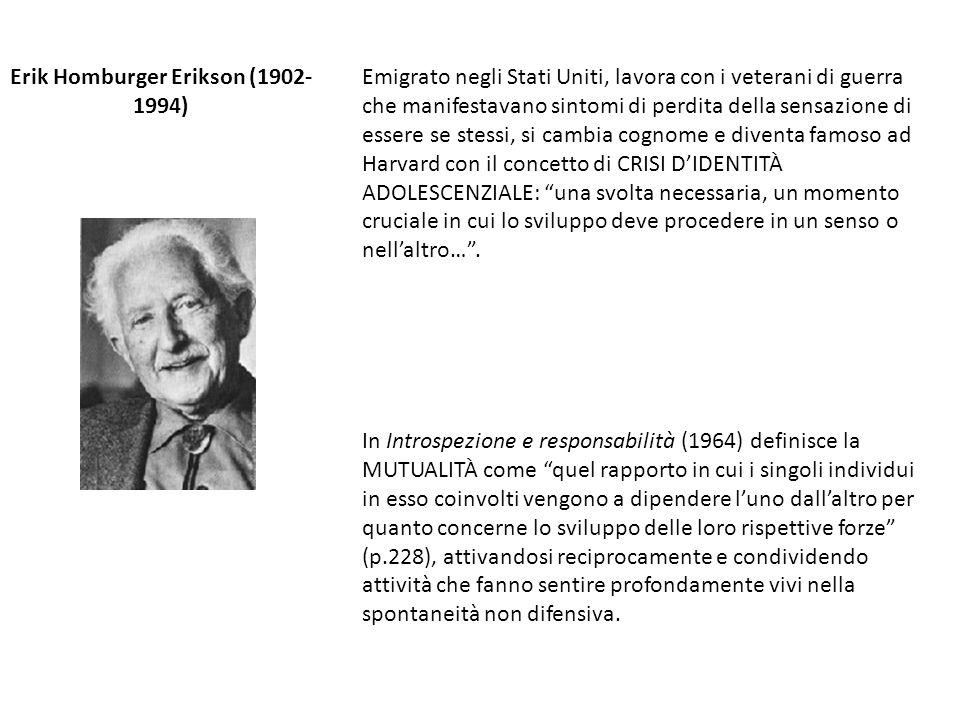 Erik Homburger Erikson (1902- 1994) In Introspezione e responsabilità (1964) definisce la MUTUALITÀ come quel rapporto in cui i singoli individui in e