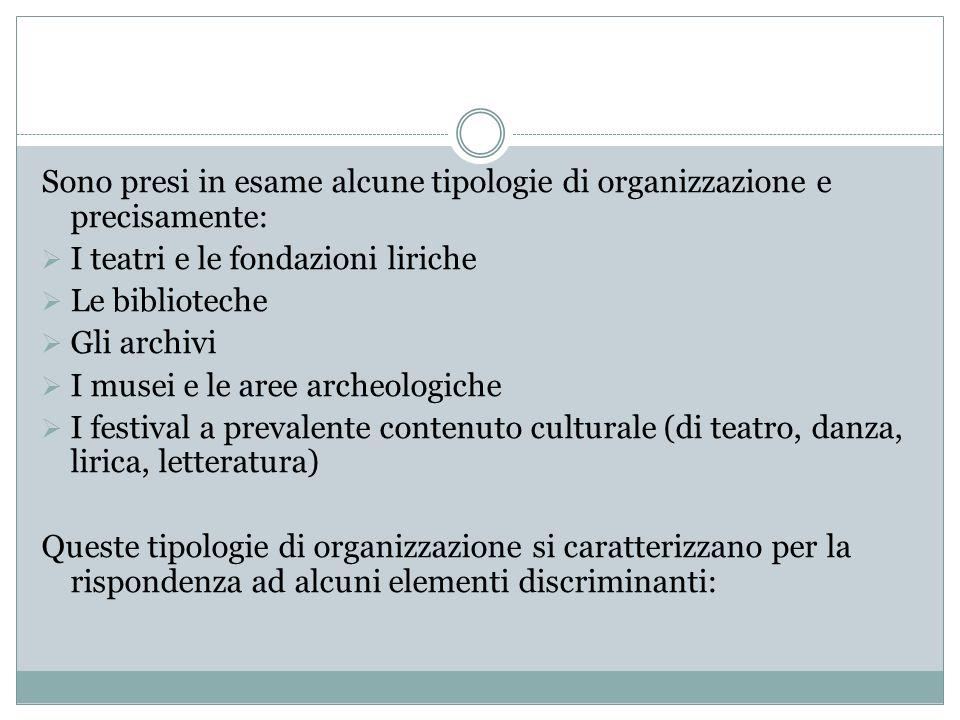 Sono presi in esame alcune tipologie di organizzazione e precisamente: I teatri e le fondazioni liriche Le biblioteche Gli archivi I musei e le aree a