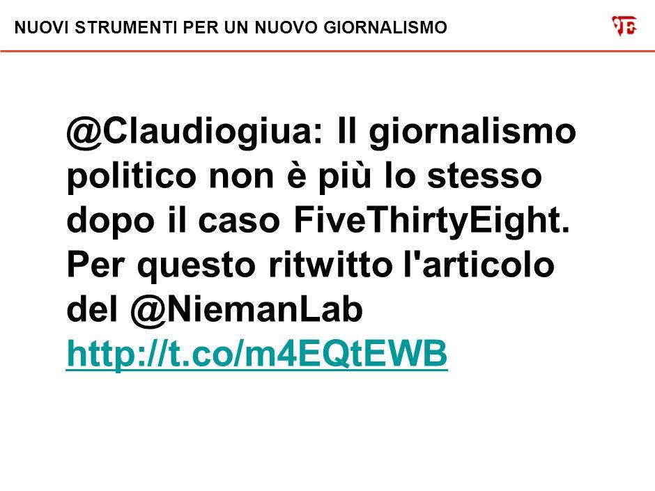 NUOVI STRUMENTI PER UN NUOVO GIORNALISMO @Claudiogiua: Il blog di calcolo elettorale del New York Times http://t.co/14nmvTcv e perchè è così deflagrante per il #giornalismo http://t.co/063pvkfG http://t.co/14nmvTcv http://t.co/063pvkfG