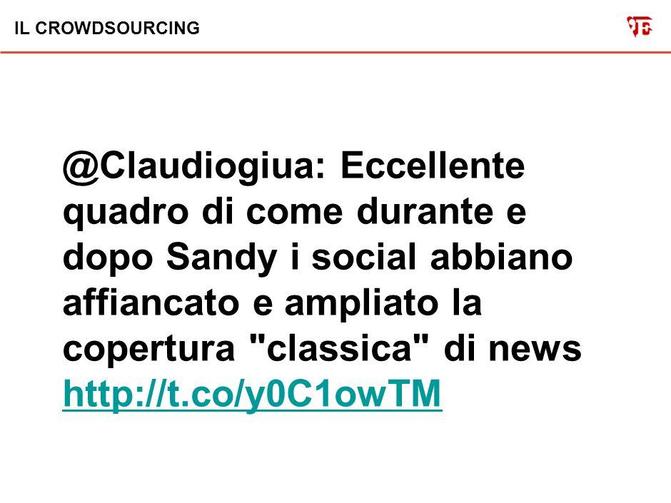 IL CROWDSOURCING @Claudiogiua: Diecimila video sull uragano Sandy caricati in poco piú di nove giorni sul sito http://t.co/CruG2G4y Il crowdsourcing è un fenomeno sociale.