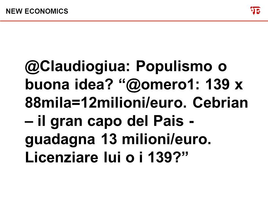 NEW ECONOMICS @Claudiogiua: Populismo o buona idea.