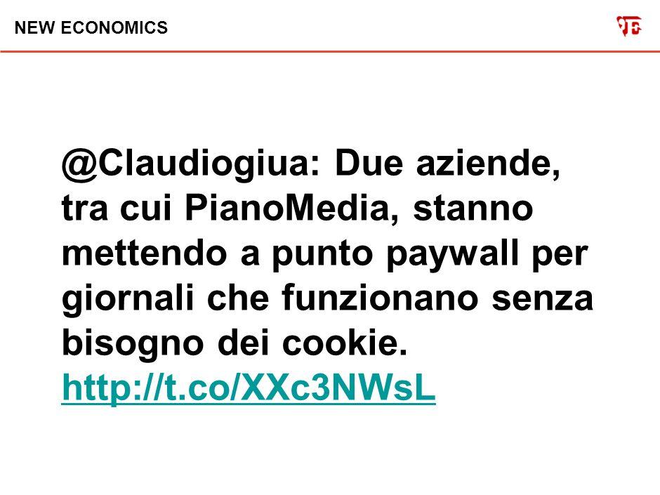 NEW ECONOMICS @Claudiogiua: Due aziende, tra cui PianoMedia, stanno mettendo a punto paywall per giornali che funzionano senza bisogno dei cookie.