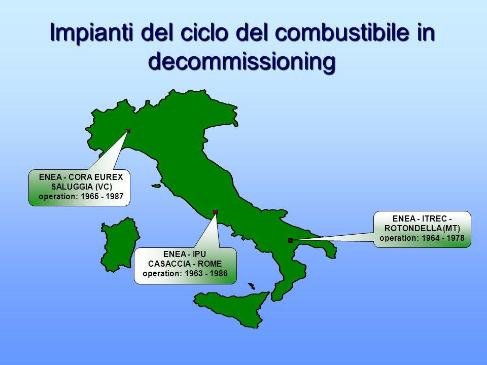 ENEA - CORA EUREX SALUGGIA (VC) operation: 1965 - 1987 ENEA - IPU CASACCIA - ROME operation: 1963 - 1986 ENEA - ITREC - ROTONDELLA (MT) operation: 1964 - 1978 Impianti del ciclo del combustibile in decommissioning