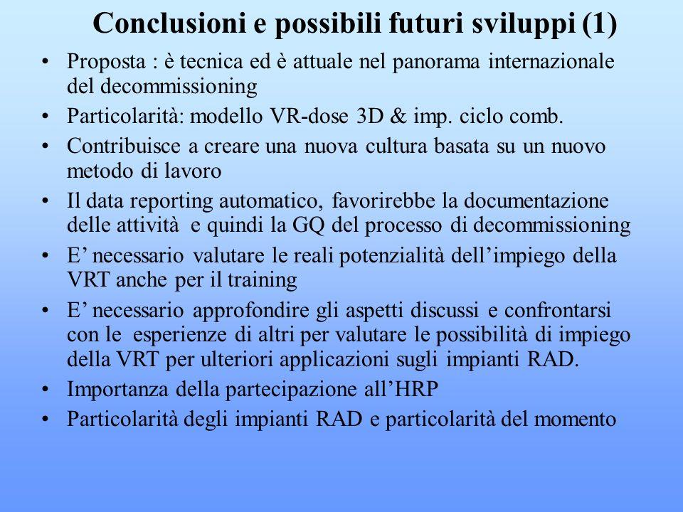 Proposta : è tecnica ed è attuale nel panorama internazionale del decommissioning Particolarità: modello VR-dose 3D & imp. ciclo comb. Contribuisce a