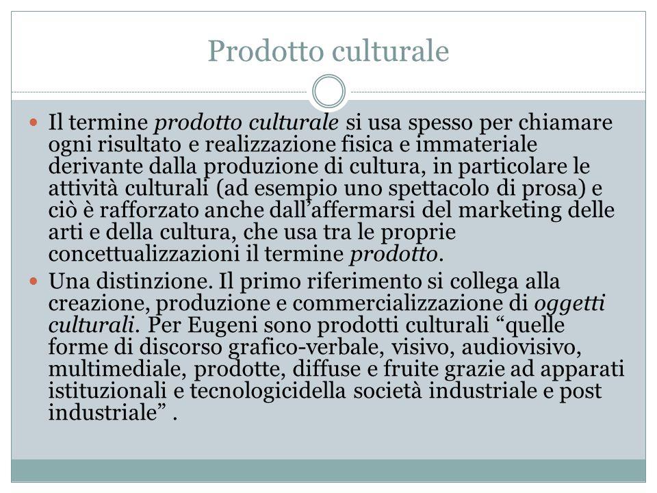 Prodotto culturale Il termine prodotto culturale si usa spesso per chiamare ogni risultato e realizzazione fisica e immateriale derivante dalla produz