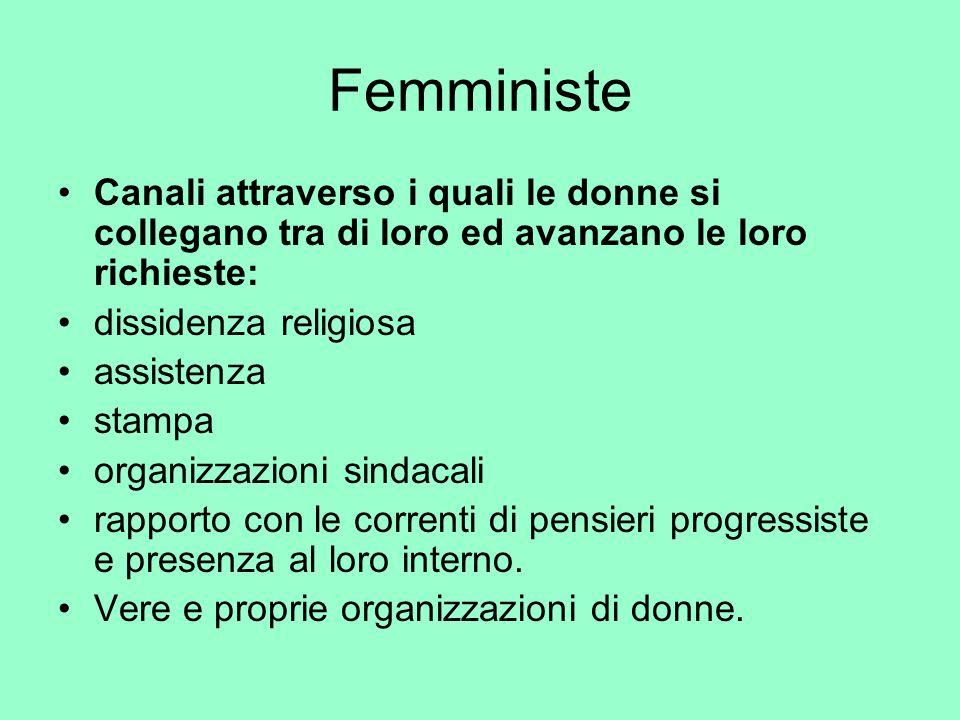 Femministe Canali attraverso i quali le donne si collegano tra di loro ed avanzano le loro richieste: dissidenza religiosa assistenza stampa organizza