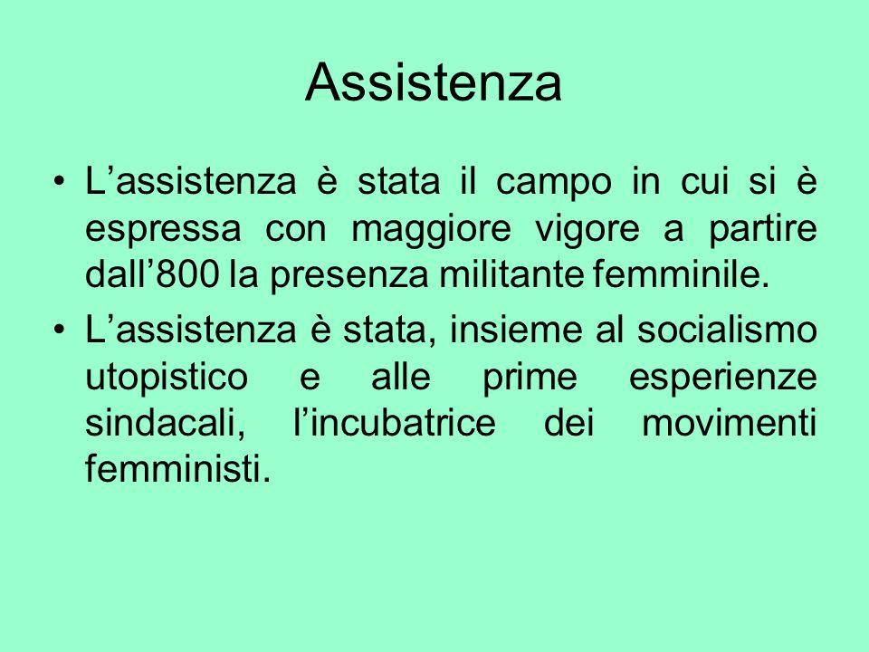 Assistenza Lassistenza è stata il campo in cui si è espressa con maggiore vigore a partire dall800 la presenza militante femminile. Lassistenza è stat