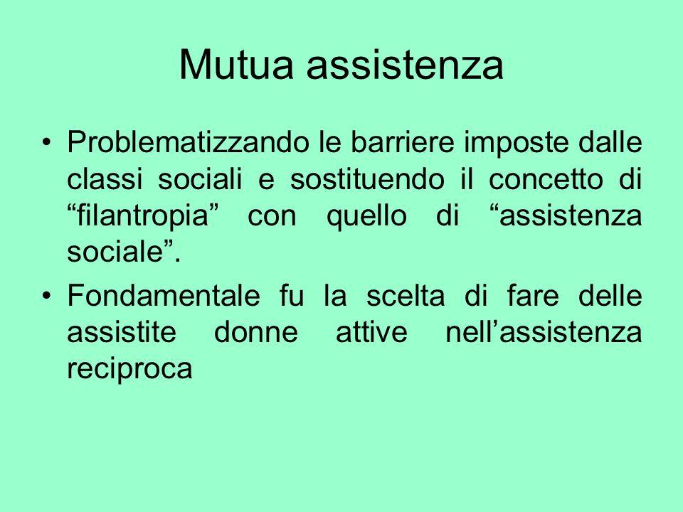 Mutua assistenza Problematizzando le barriere imposte dalle classi sociali e sostituendo il concetto di filantropia con quello di assistenza sociale.